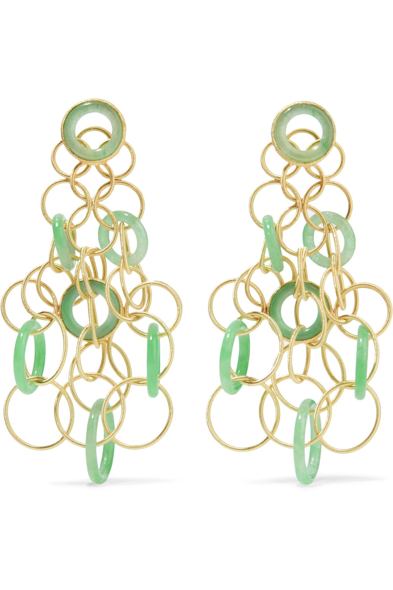Lyst Buccellati Hawaii 18 Karat Gold Jade Earrings In
