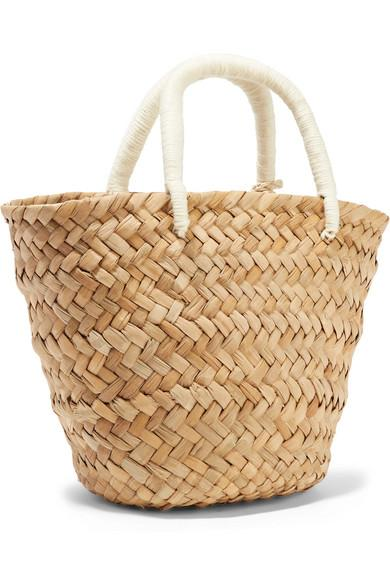 Kayu St Tropez Mini Pompom-embellished Embroidered Woven Straw Tote in Sand (Natural)