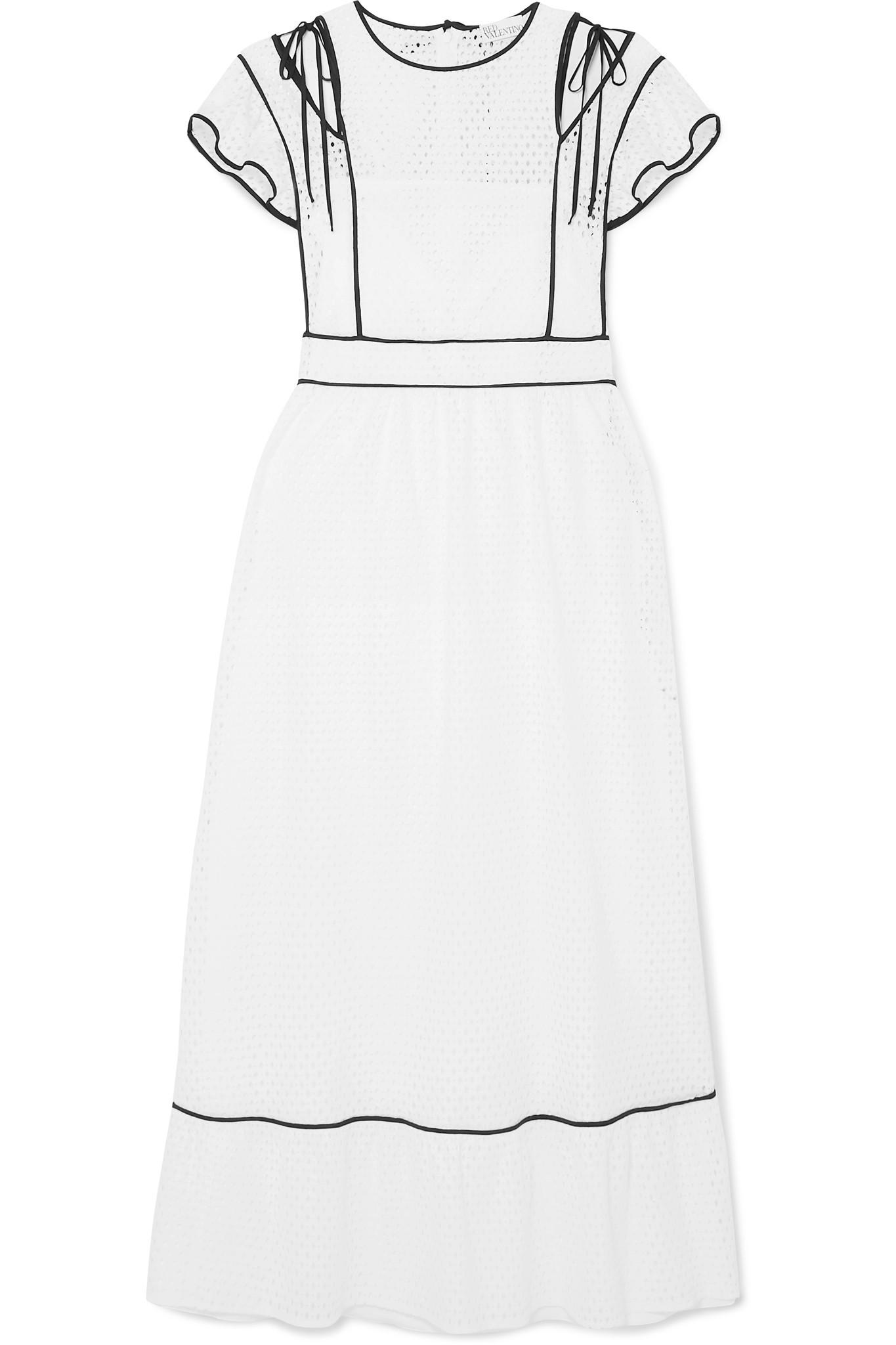 b752837cbeb RED Valentino. Women s White Cutout Ruffled Broderie Anglaise Woven Dress