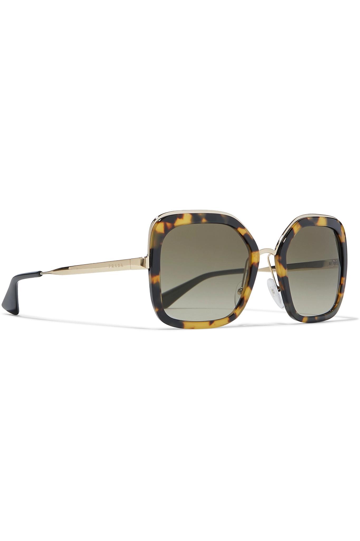 Tortoiseshell Frame Acetate Tone Prada And Lyst Gold Sunglasses Square 8nOm0vwPyN