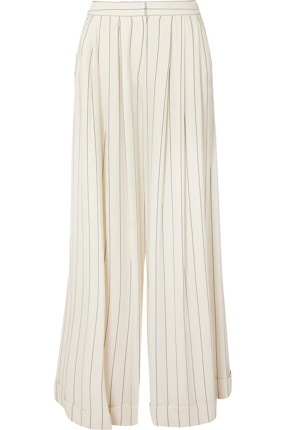 Zohra Striped Crepe De Chine Wide-leg Pants - White Roksanda Ilincic yeKXSmndm