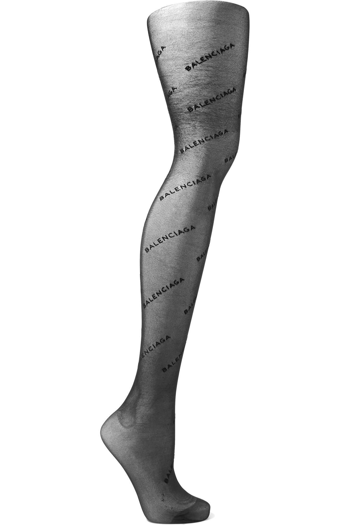 2ed58b55d77 Balenciaga Intarsia Tights in Black - Lyst