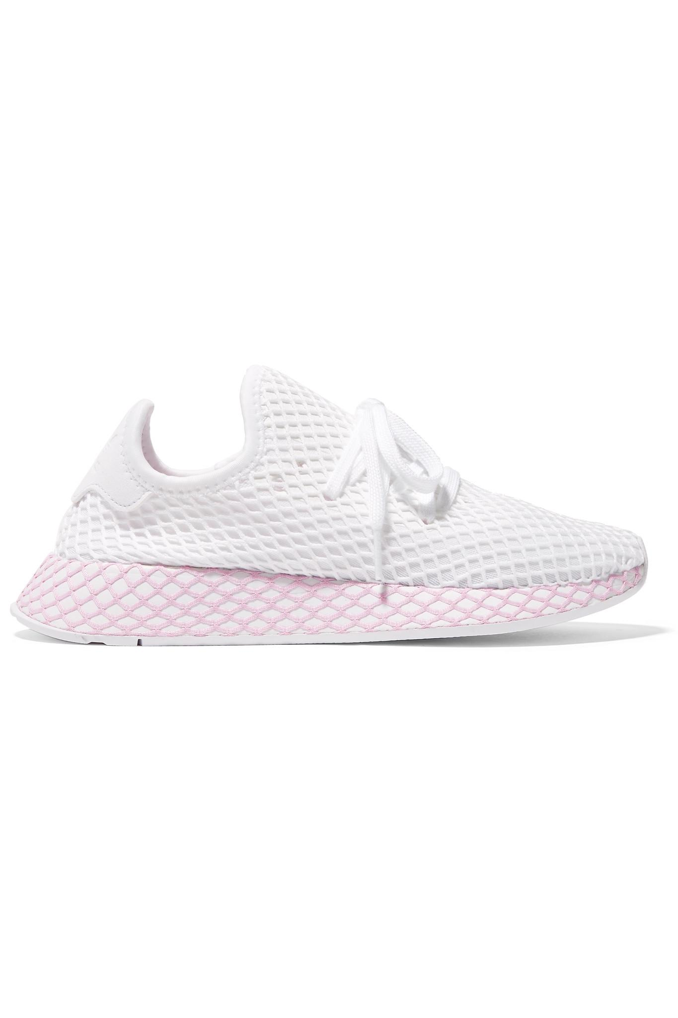 hot sale online a33a0 e8ec0 adidas Originals. Womens White Deerupt Runner Suede-trimmed Mesh Sneakers
