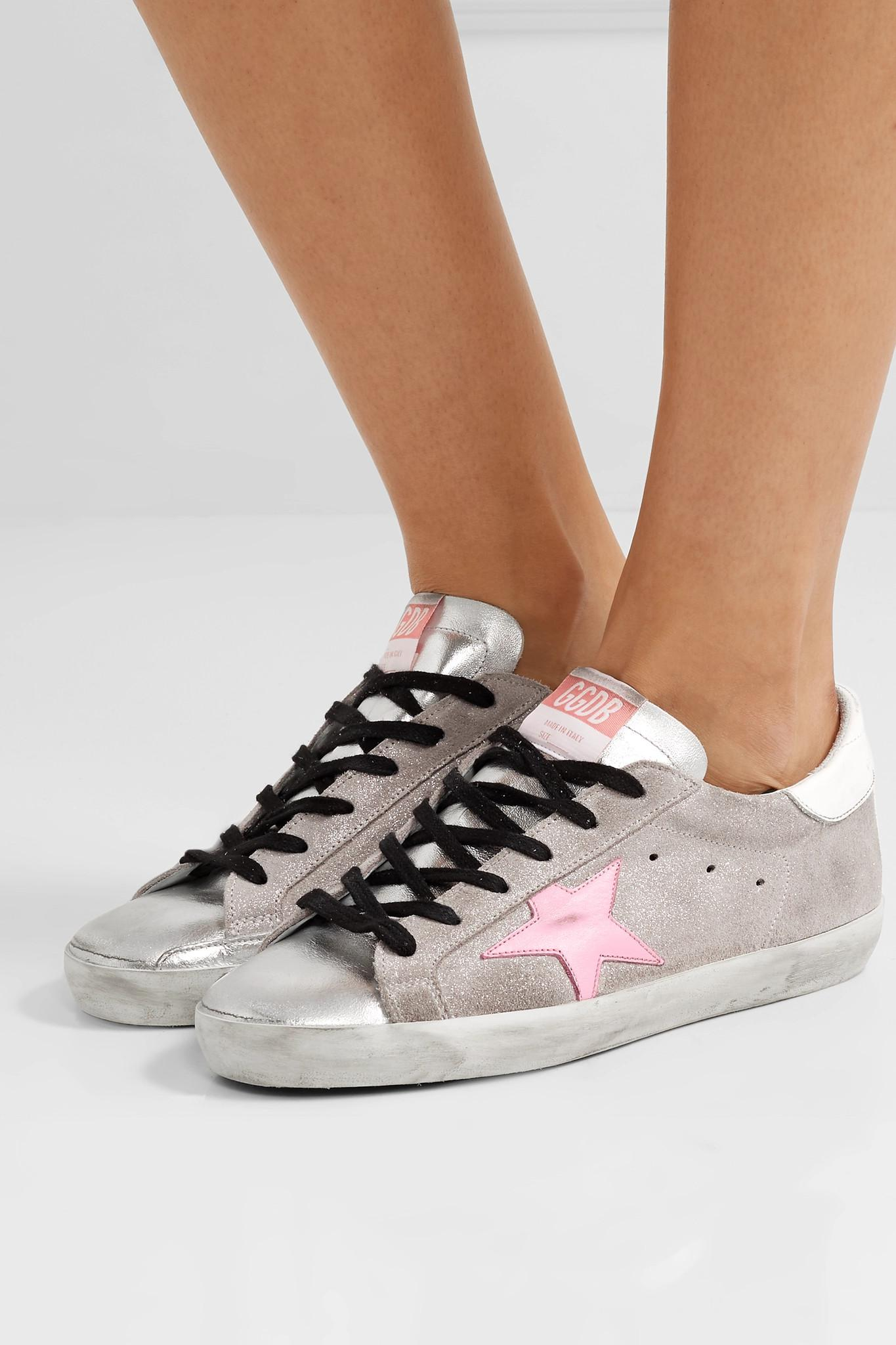 f228778ab Golden Goose Deluxe Brand Superstar Distressed Glittered Suede And ...