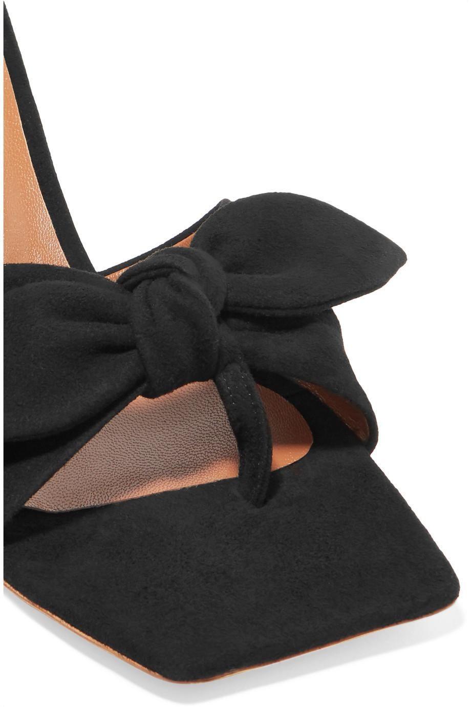 REJINA PYO Lottie Bow-embellished Suede Mules Outlet Looking For Outlet Locations Cheap Price Discount Sale Online uYryXSx