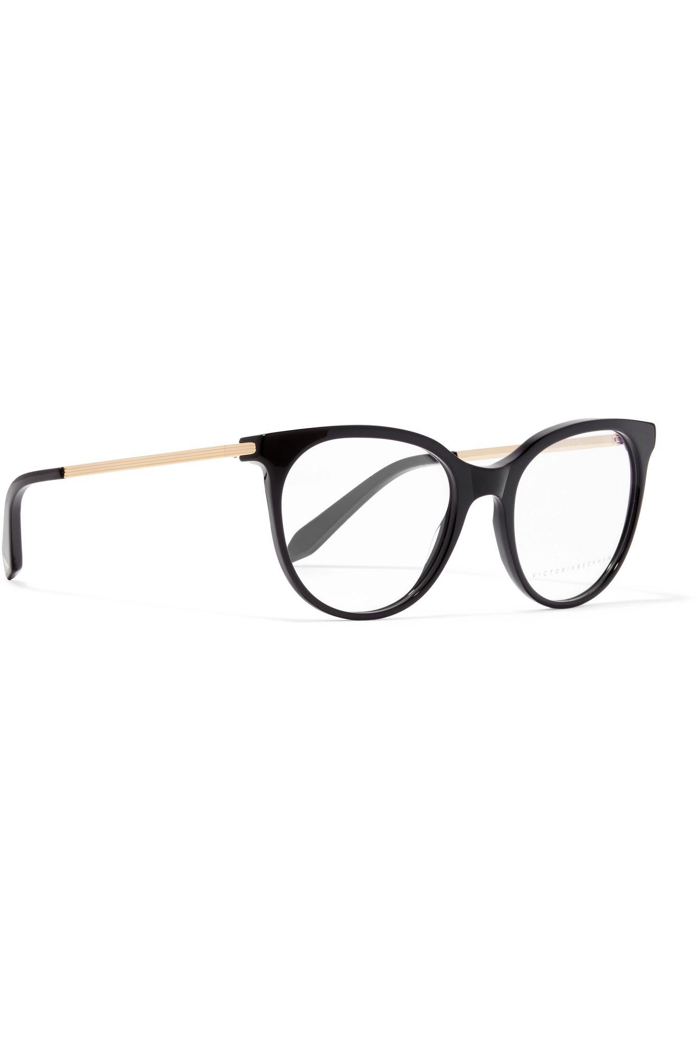 d5a5a7255e470 Victoria Beckham Black Classic Kitten Cat-eye Acetate And Gold-tone Optical  Glasses