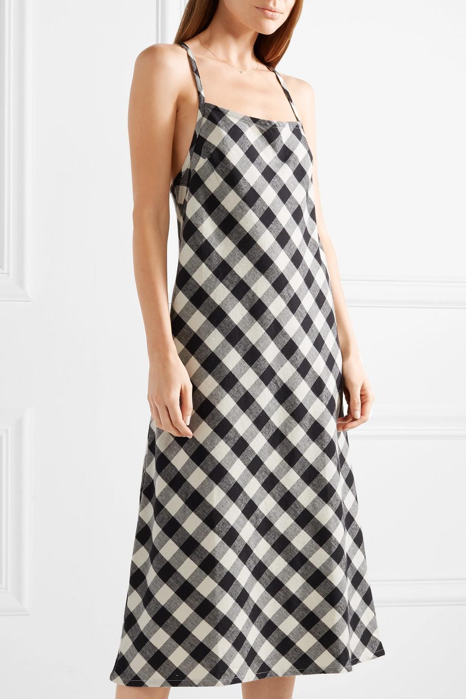 Leonie Gingham Cotton-flannel Nightdress - Black Skin Clearance Brand New Unisex Wnolu