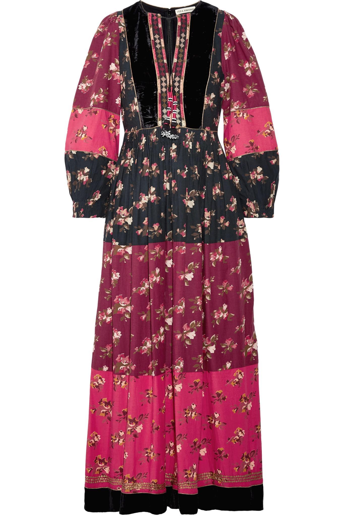 Suzana Velvet-trimmed Printed Cotton-blend Maxi Dress - Pink Ulla Johnson 3pMNlL