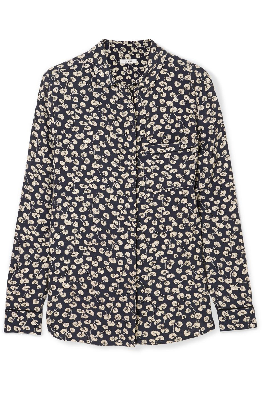 9d23352e Ganni Roseburg Printed Crepe De Chine Shirt in Blue - Lyst