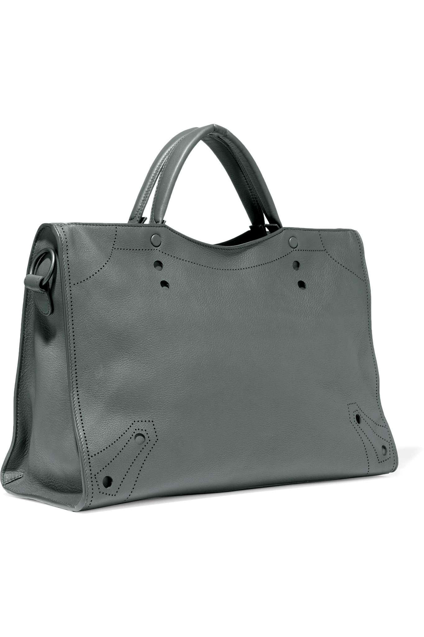 d50c7d13f8 Lyst - Balenciaga Blackout City L Perforated Matte-leather Tote in Gray