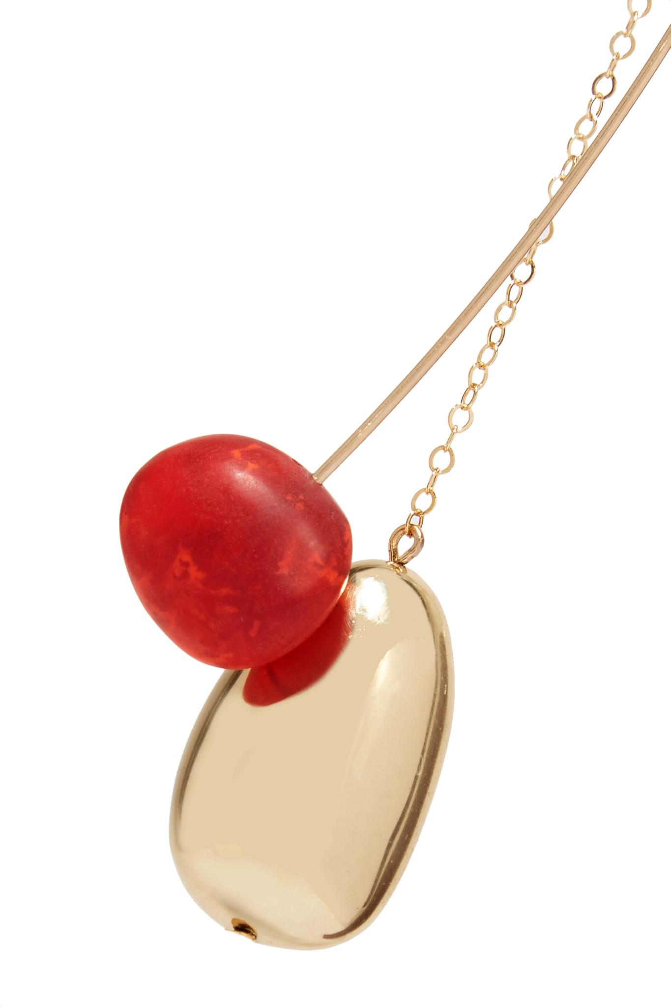 Dinosaur Designs Pebble Gold-tone Resin Necklace - Red O7vcgYC