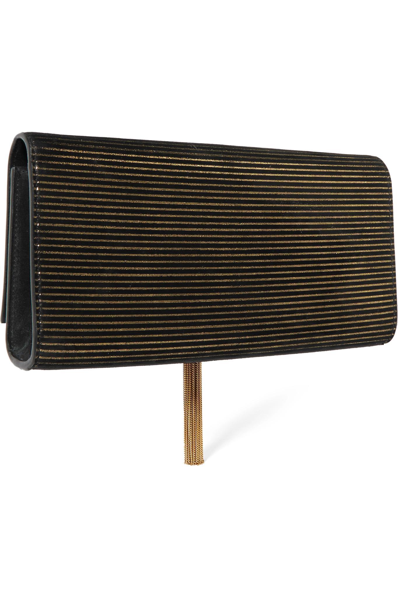 8f80b980ab Lyst - Saint Laurent Monogramme Kate Metallic-striped Suede Shoulder ...