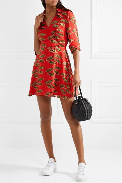 Alice Olivia Hannah wrap-effect floral-print washed-satin mini dress NEW $395