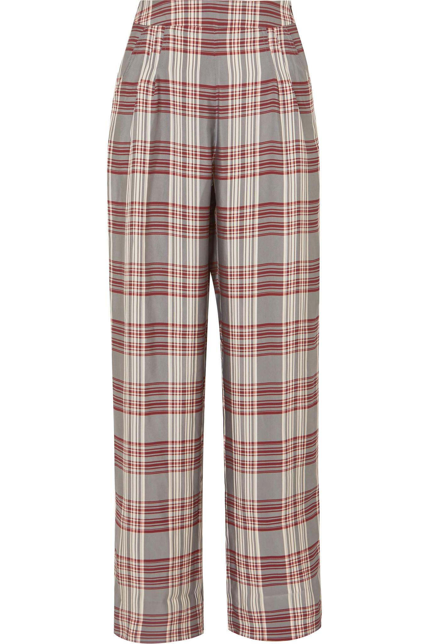 Molly Checked Crepe Trousers - Red Markus Lupfer qg3ARdzWD7