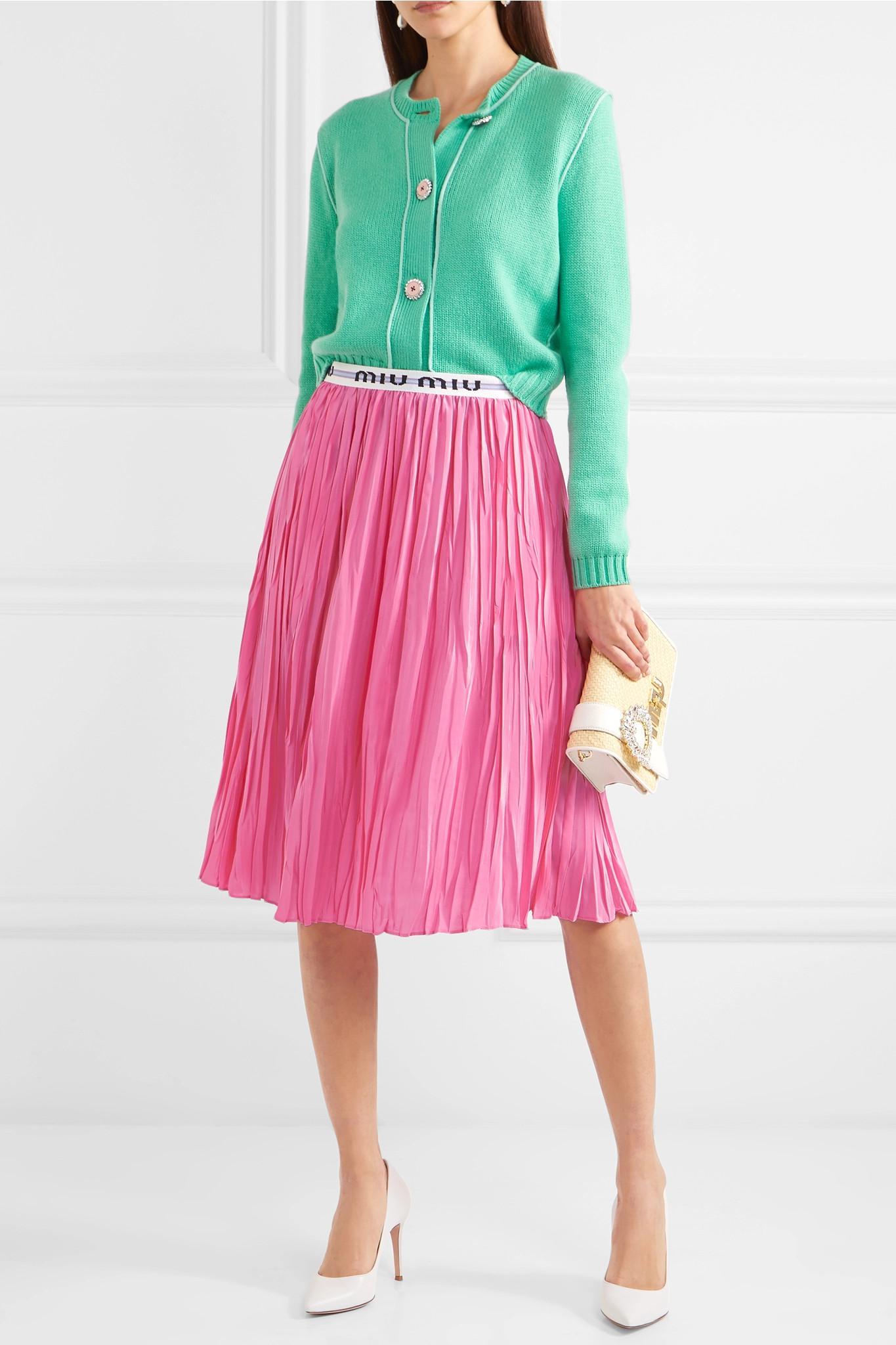 923f2a040f Miu Miu Pleated Midi Skirt in Pink - Lyst