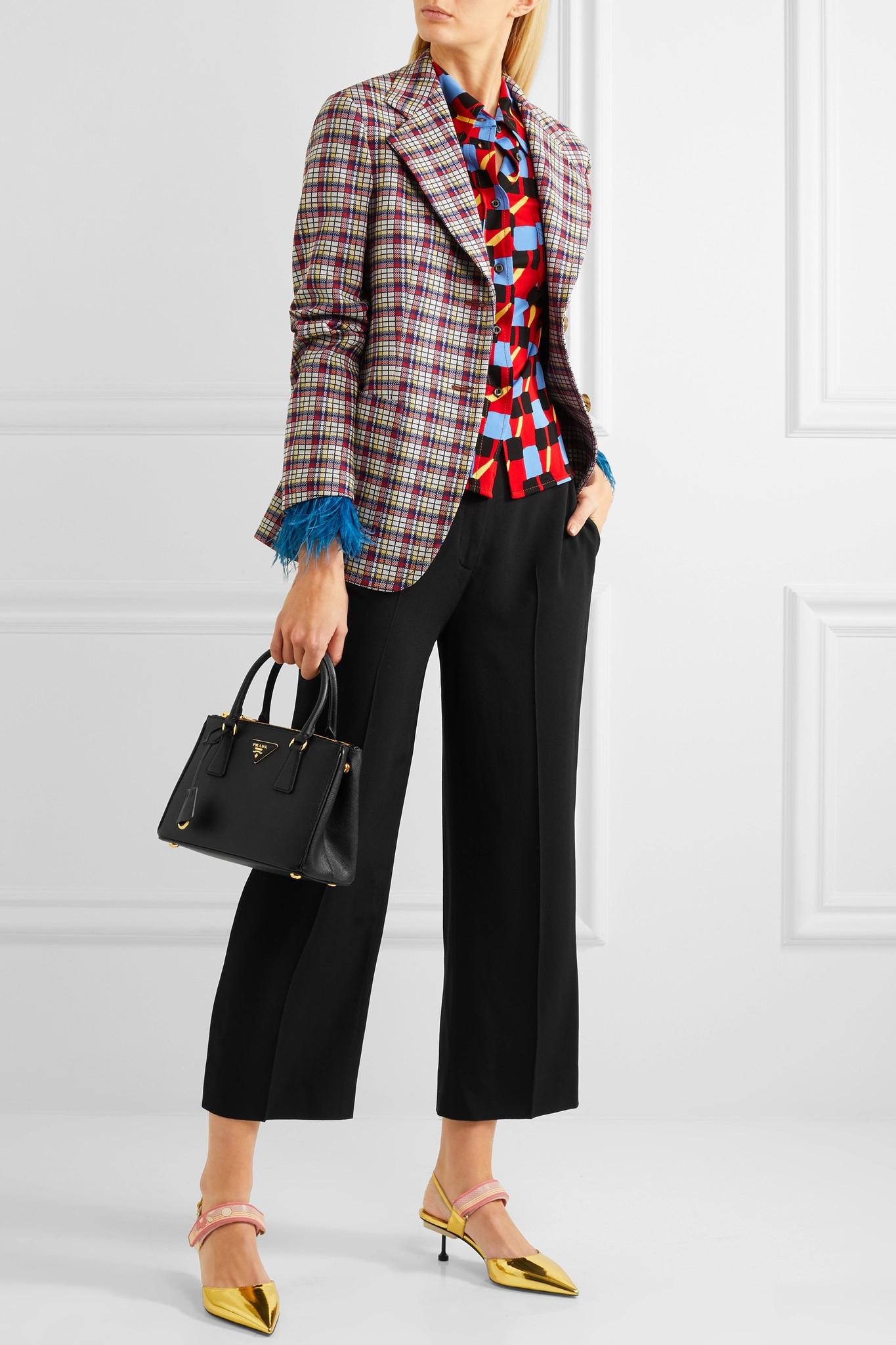 33e576140bae Lyst - Prada Galleria Mini Textured-leather Tote in Black