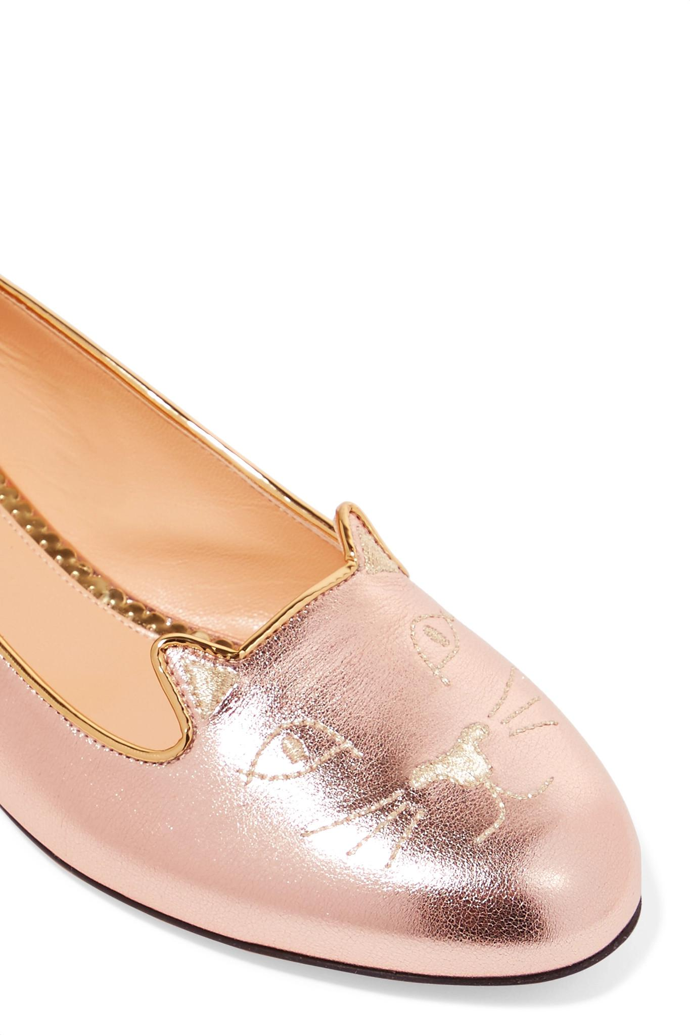 Kitty Embroidered Metallic Leather Slippers - Pink Charlotte Olympia VhGX7