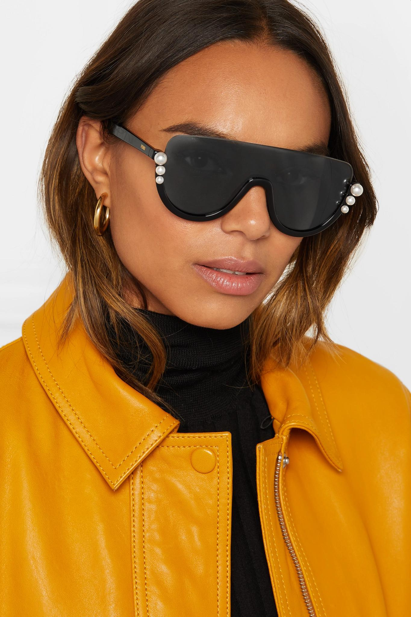 Fendi Faux Pearl-embellished D-frame Acetate Sunglasses in Black