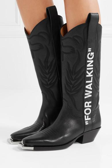 Off-White c/o Virgil Abloh Leather For Walking Cowboy Boot in Black