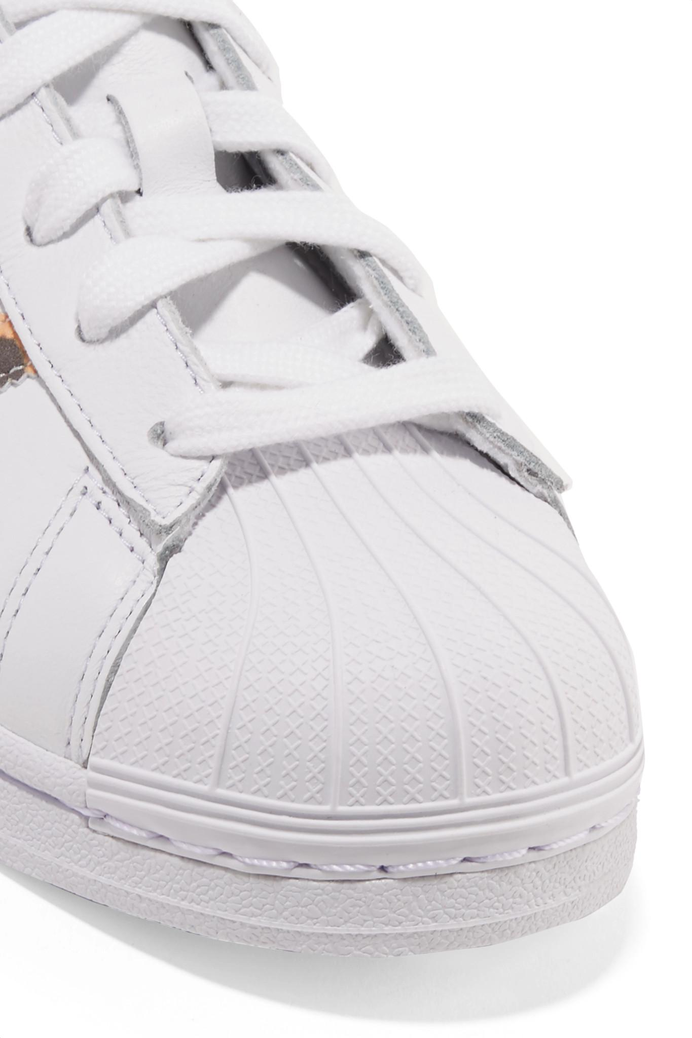 huge selection of 52fb2 3691c Adidas Originals White Superstar Leopard Print-trimmed Leather Sneakers