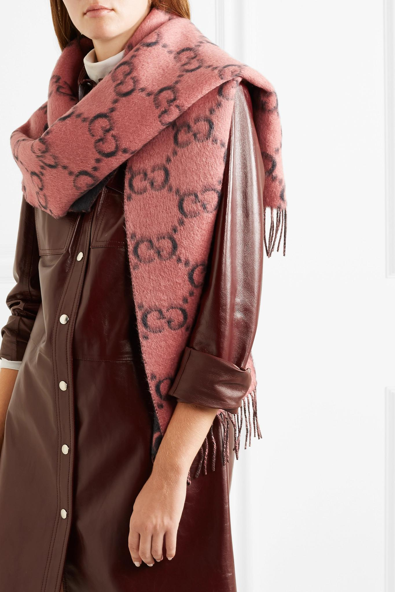 fd95119013 Gucci Pink Fringed Alpaca And Wool-blend Scarf