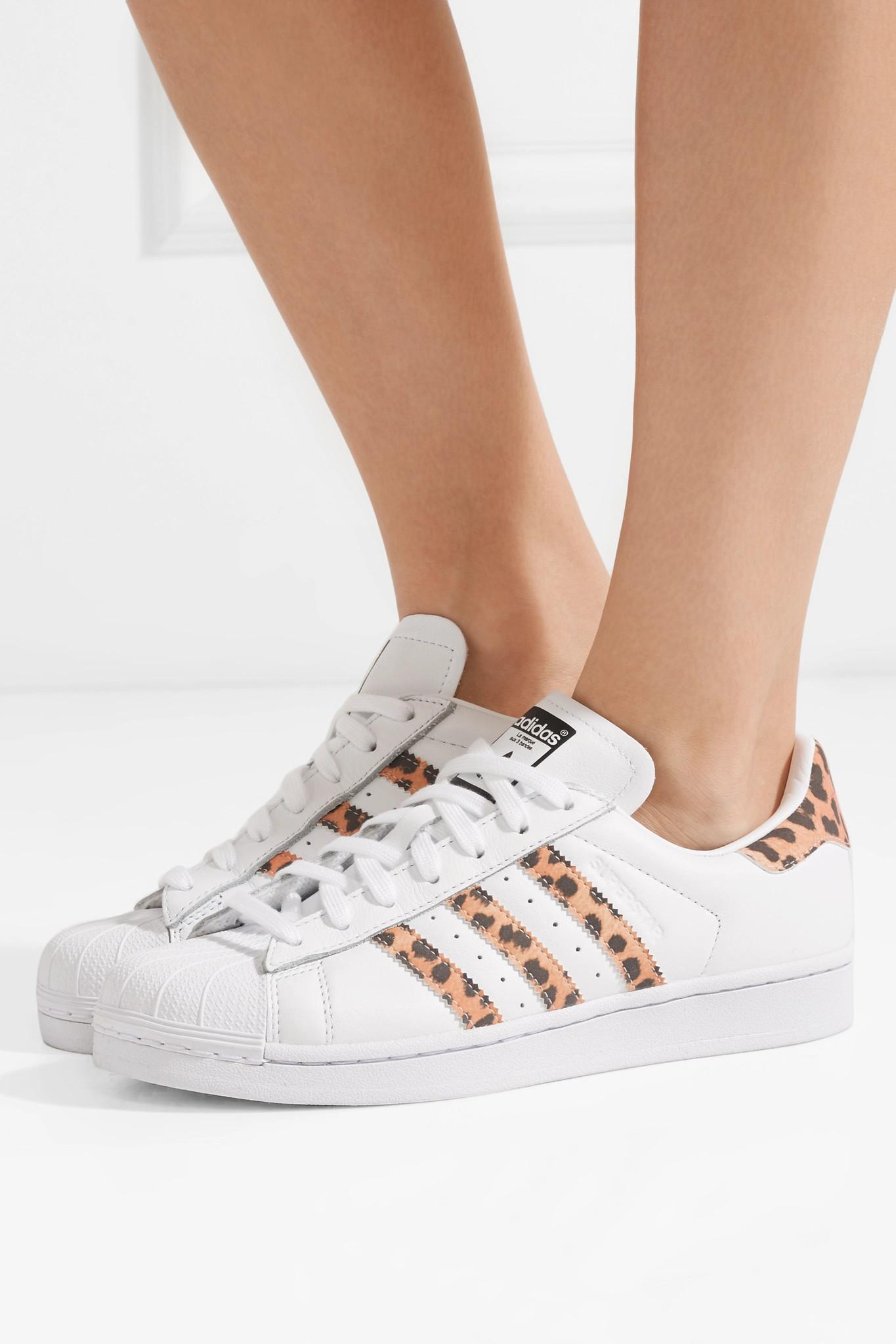 Lyst - adidas Originals Superstar Leopard Print-trimmed Leather ... f95356792