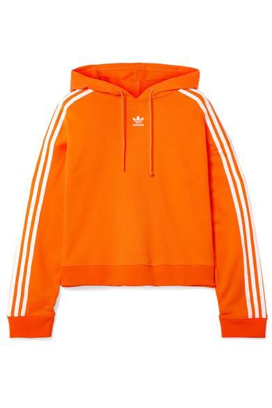 Adidas Originals Orange Cropped Striped Cotton terry Hoodie