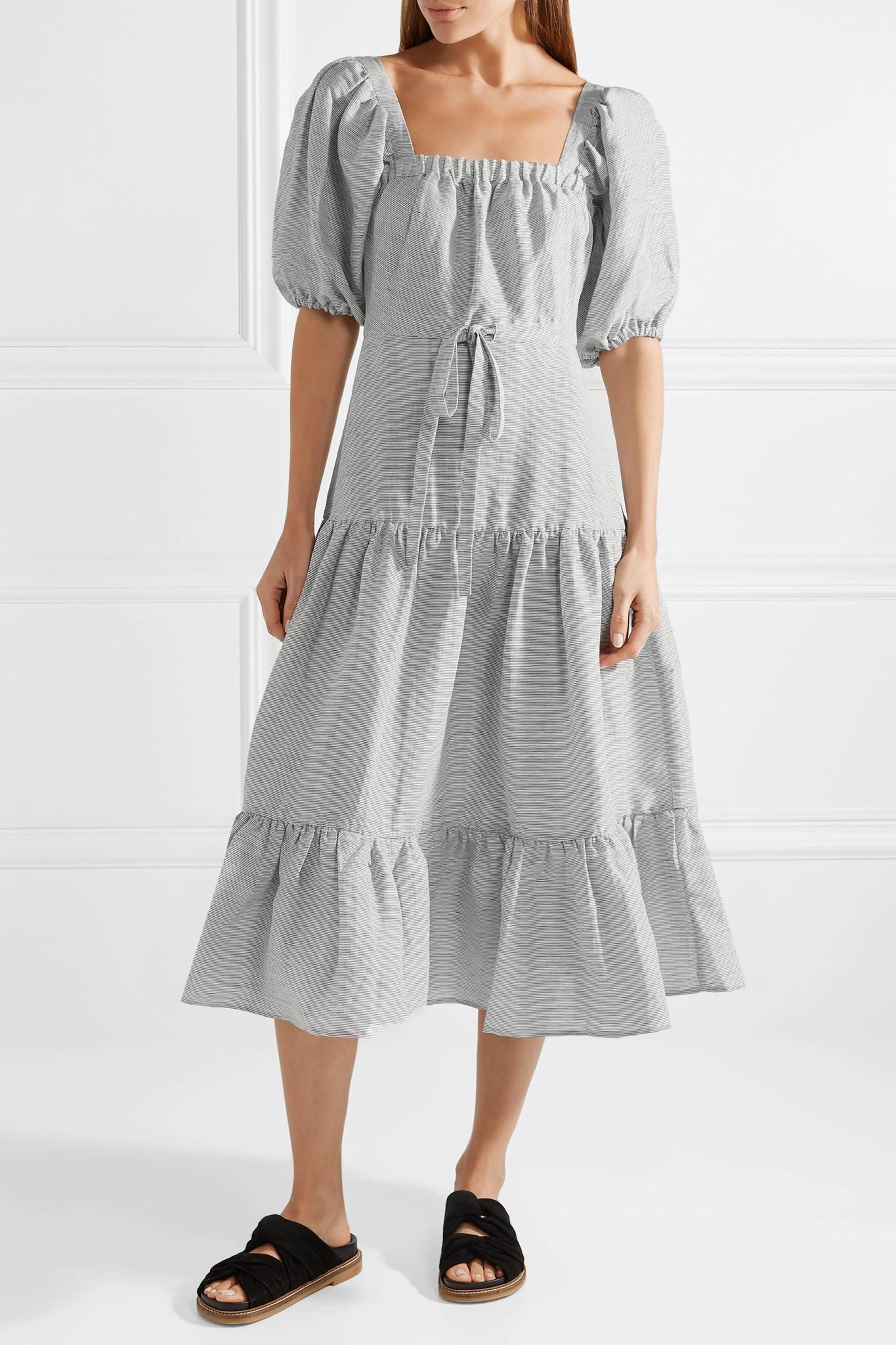 Free Shipping Factory Outlet Latest Collections Cheap Online Striped Linen And Silk-blend Midi Dress - Storm blue Co Clearance Largest Supplier ZLY7wqSO