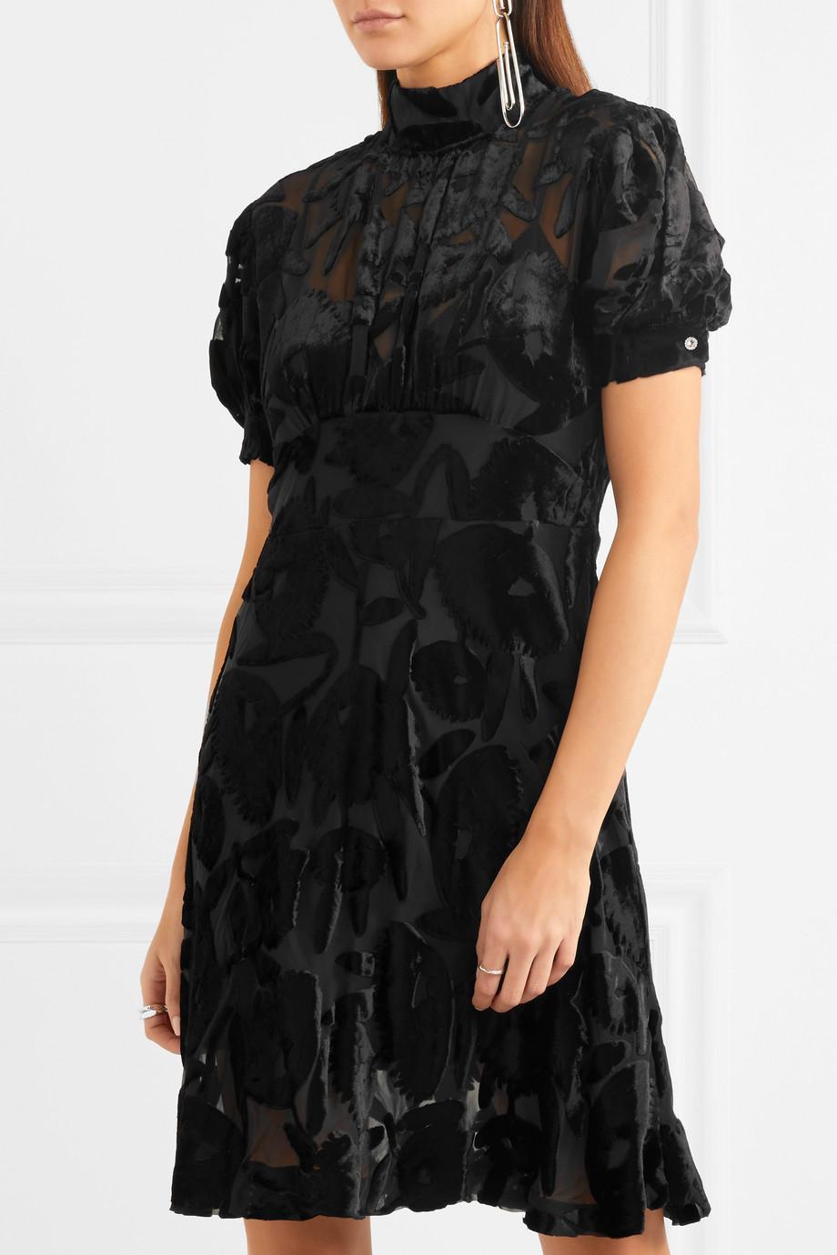 Crystal-embellished Devoré-velvet Dress - Black Alexander McQueen g7Xtmjt