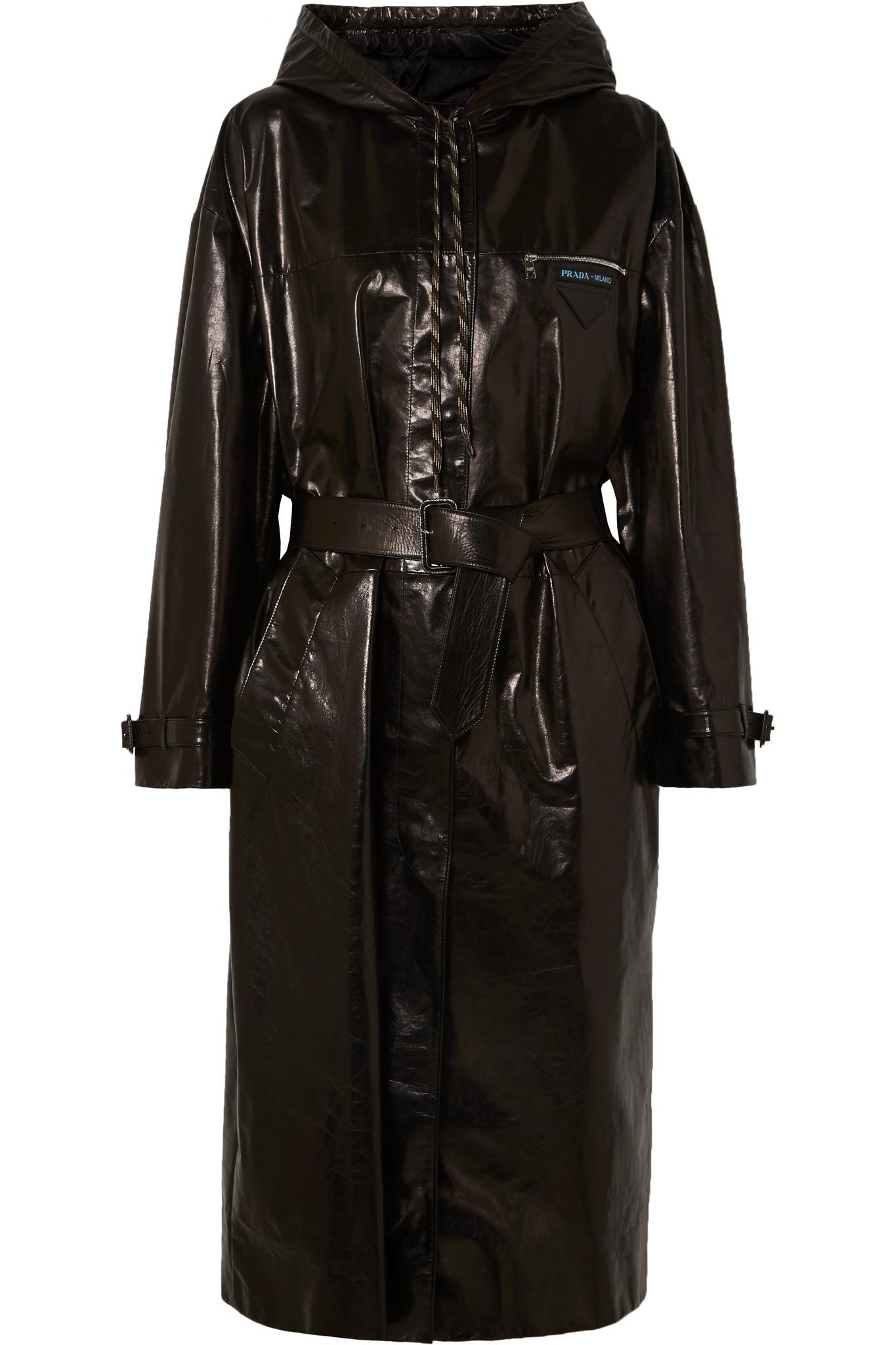 c757fa5bc4f4 Prada - Black Hooded Patent-leather Trench Coat - Lyst. View fullscreen