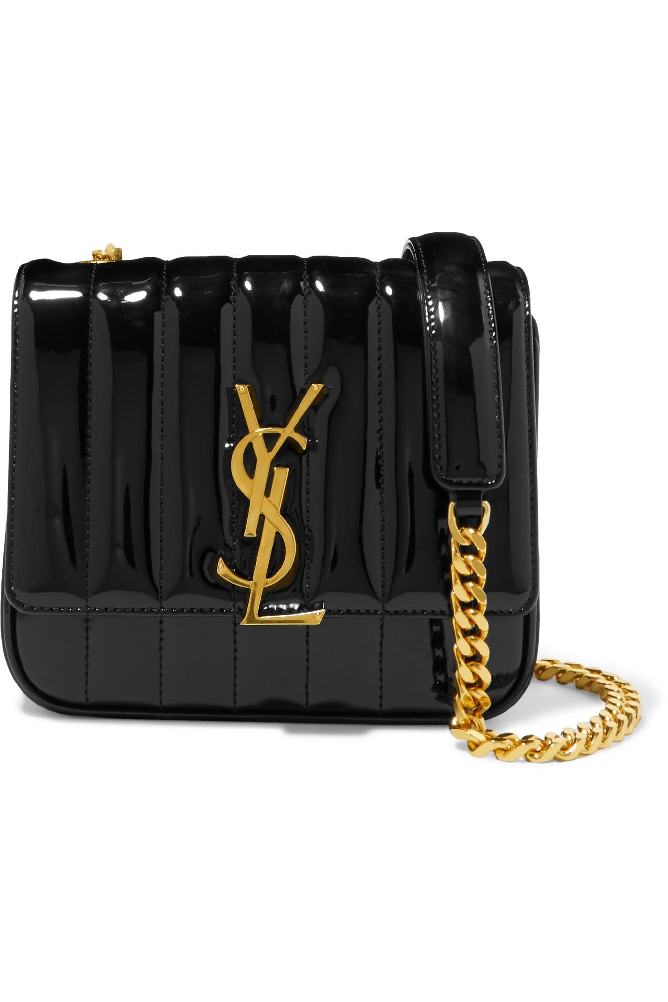 7e5c6f4564 Lyst - Saint Laurent Black Striped Stripe Vicky Leather Shoulder Bag ...
