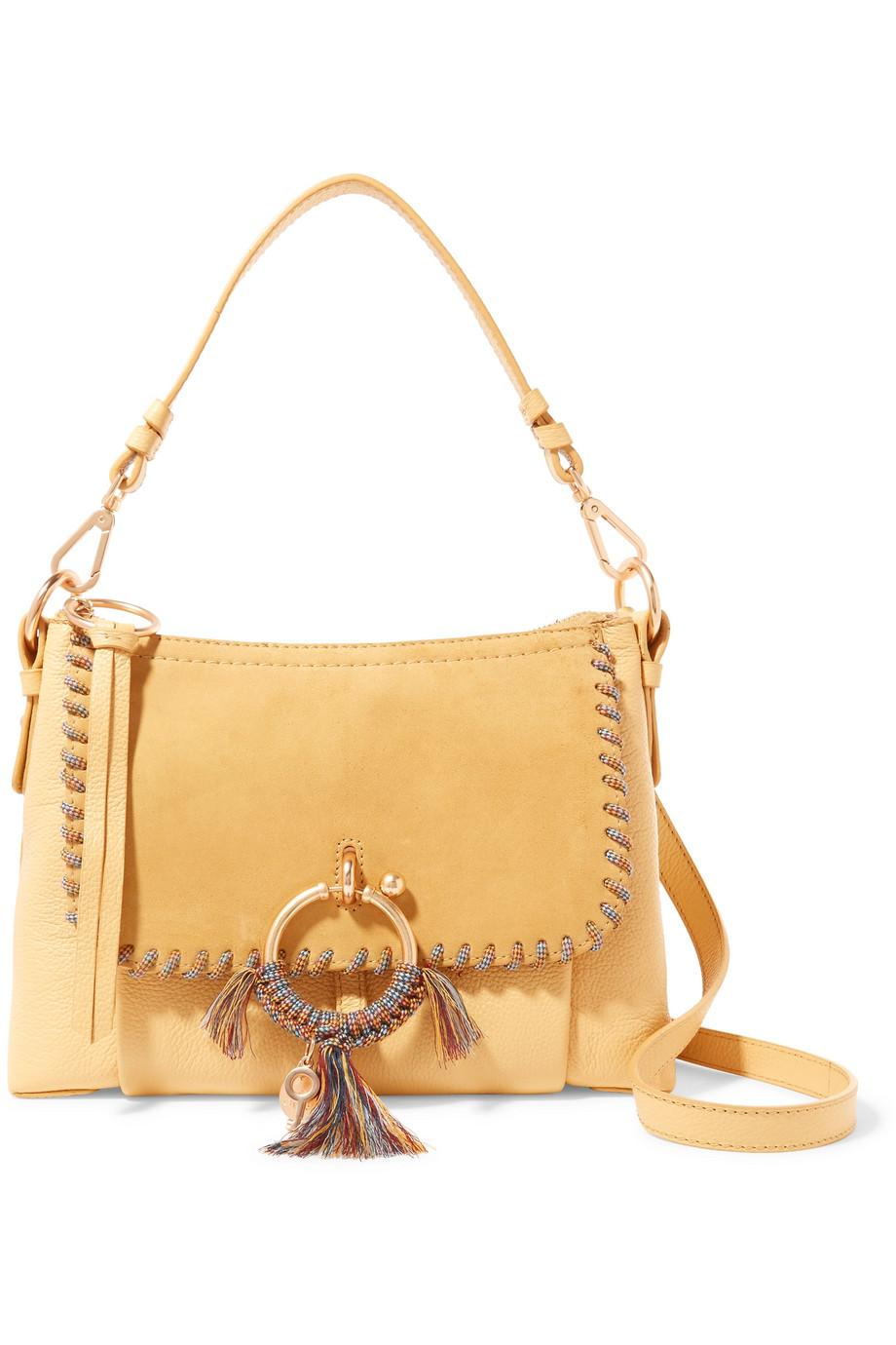 Joan Small Whipstitched Suede-paneled Textured-leather Shoulder Bag - Yellow See By Chlo UTHQT4Dyh