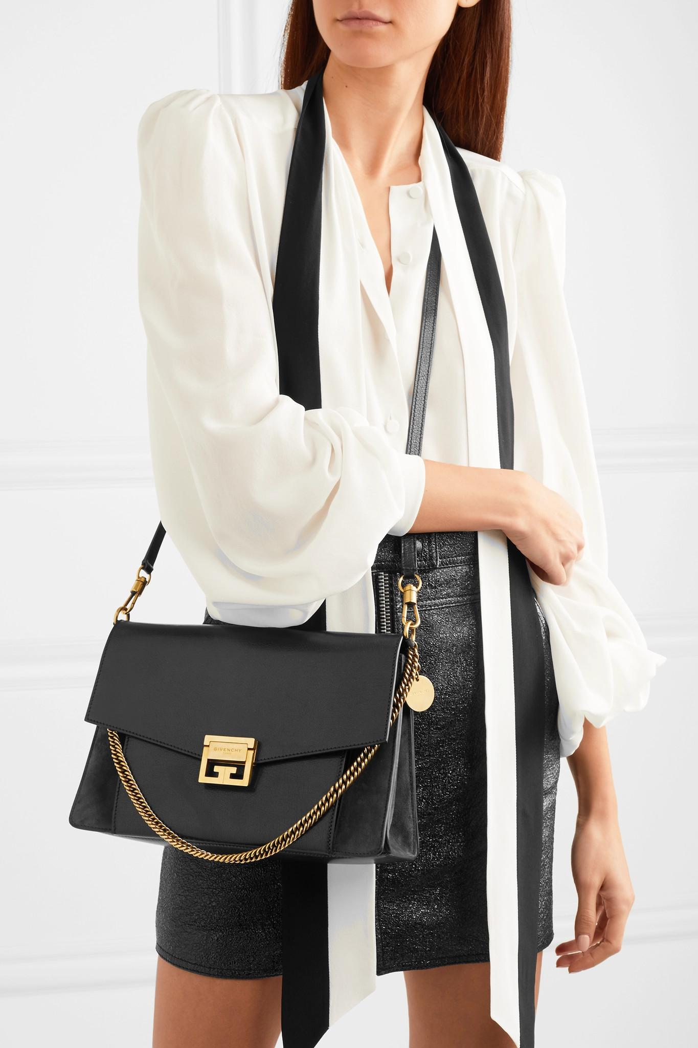 Lyst - Givenchy Gv3 Medium Leather And Suede Shoulder Bag in Black ad58b71eeecb8