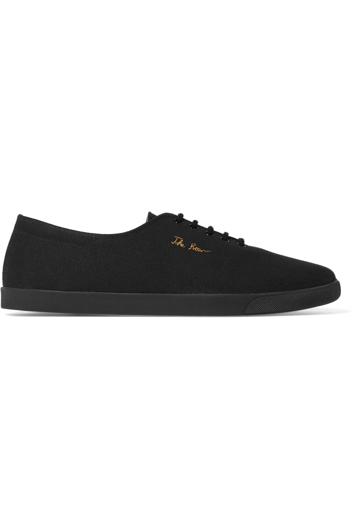 The Row. Women's Black Dean Embroidered Canvas Sneakers