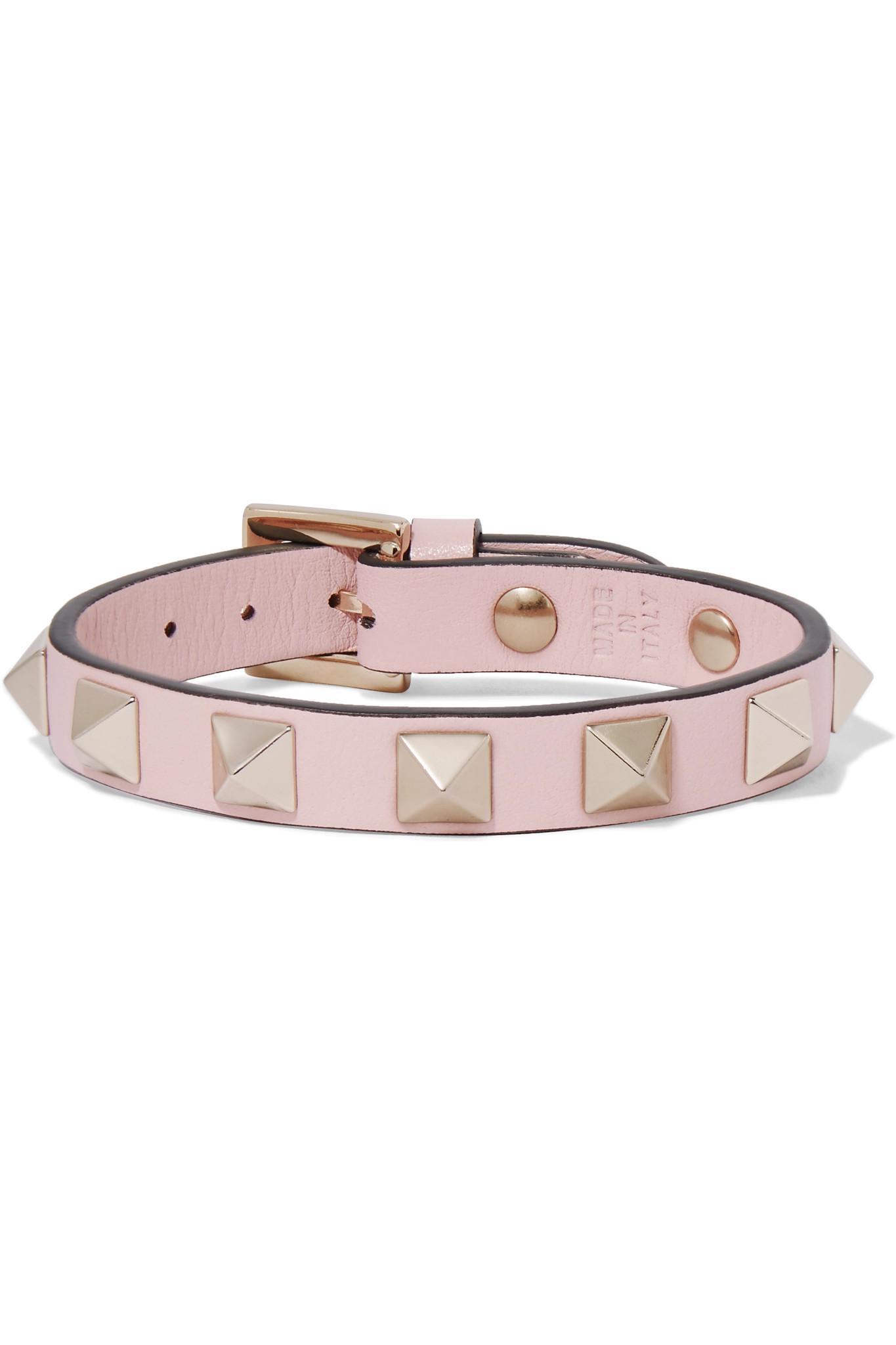 Valentino Garavani The Rockstud Leather And Gold-tone Bracelet - Pink Valentino NeWILl