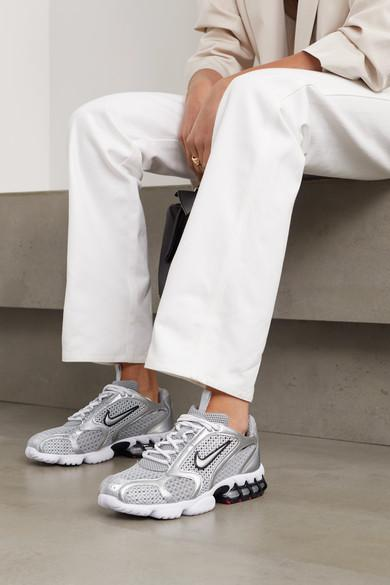 Nike Air Zoom Spiridon Cage 2 Metallic Faux Leather-trimmed Mesh ...