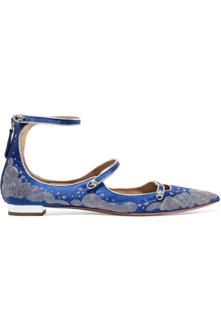 + Claudia Schiffer Cloudy Star Embroidered Satin Point-toe Flats - Blue Aquazzura Clearance Prices Ebay Outlet Manchester LkvTfw