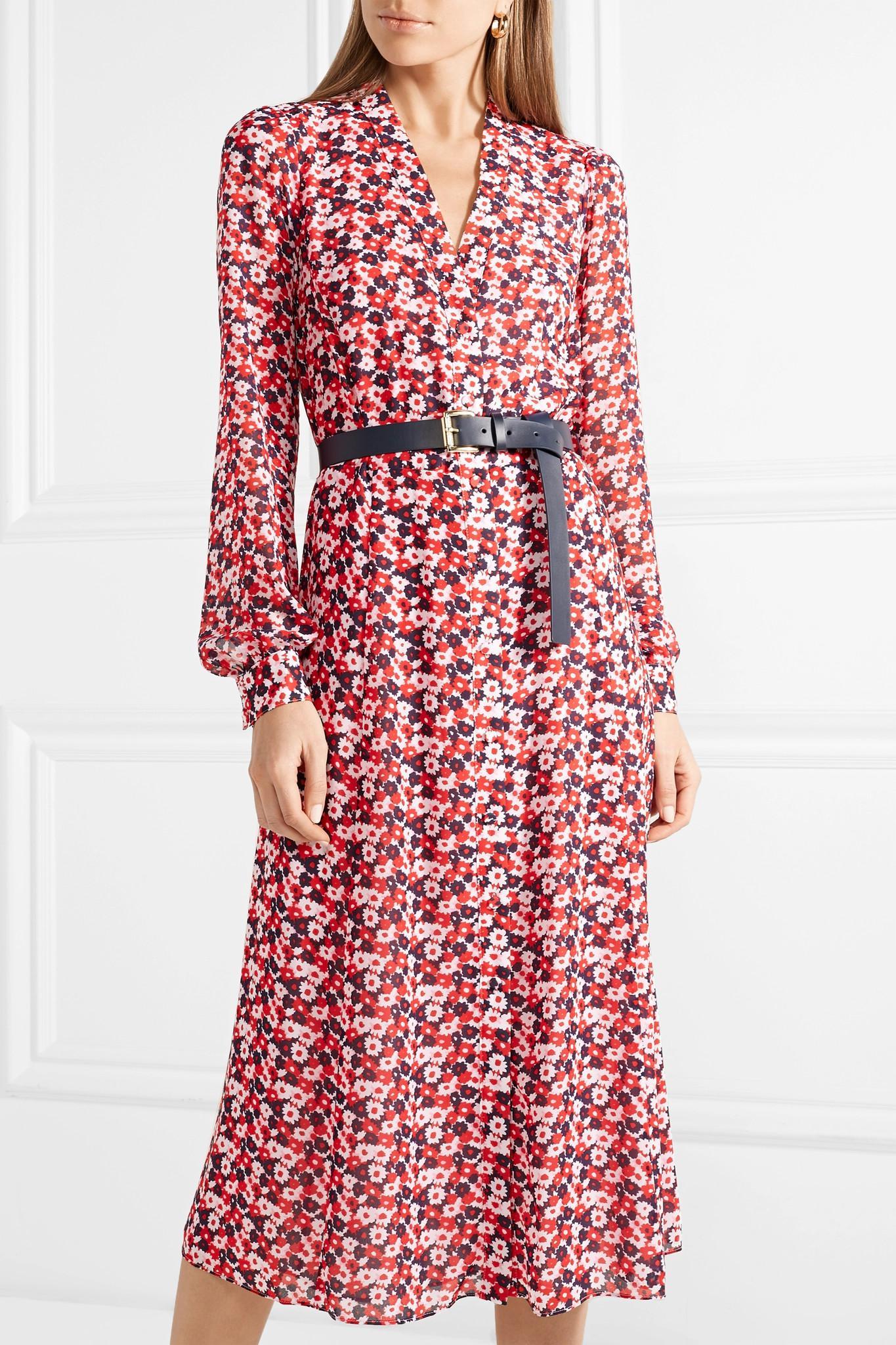 Belted Fl Print Crepe Midi Dress