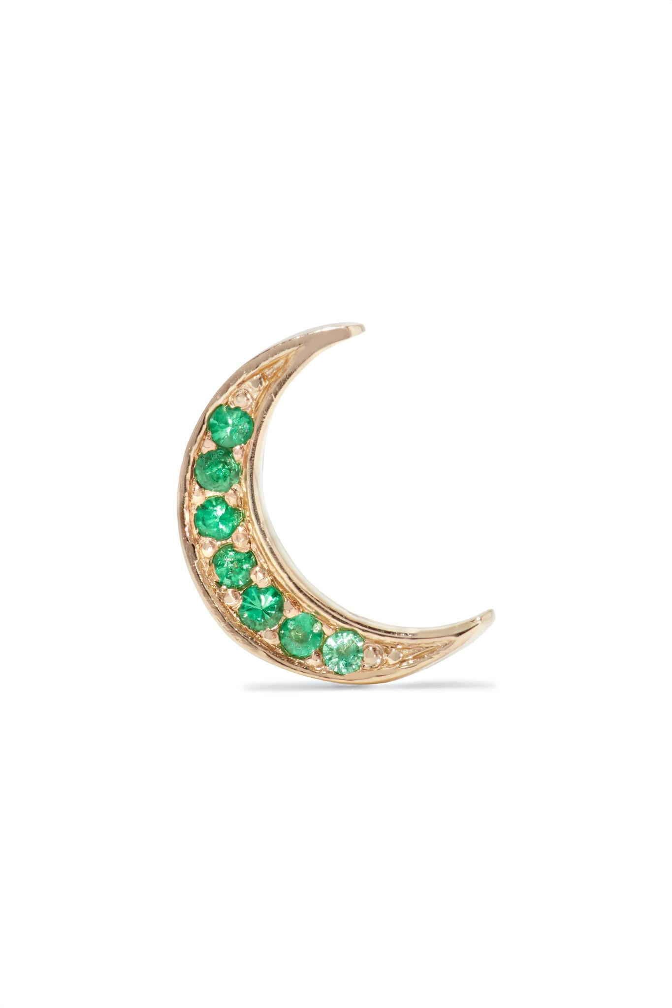Andrea Fohrman Mini Crescent 18-karat Gold Diamond Earring q26deI8