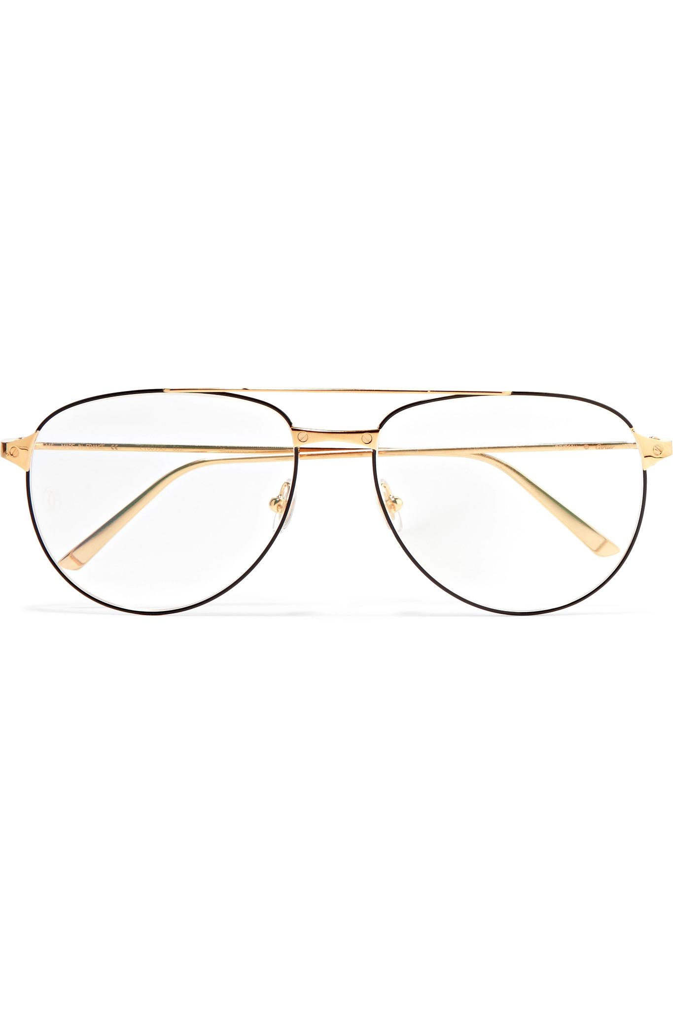 4e8f43661552 Cartier Aviator-style Gold And Silver-tone Optical Glasses in ...