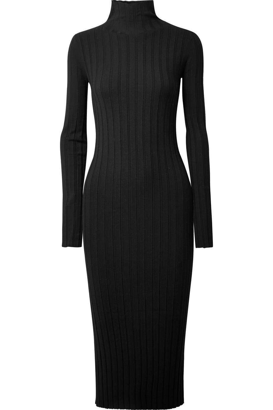 a6b01136e5a Lyst - Theory Woman Ribbed-knit Turtleneck Midi Dress Black in Black