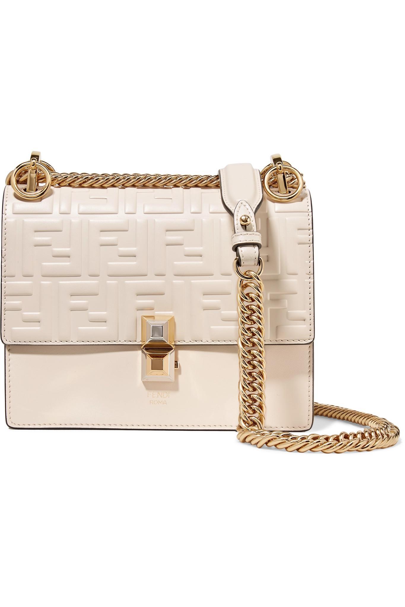 Fendi Kan I Small Embossed Leather Shoulder Bag in White - Lyst 9ca3dcf4cbb4b