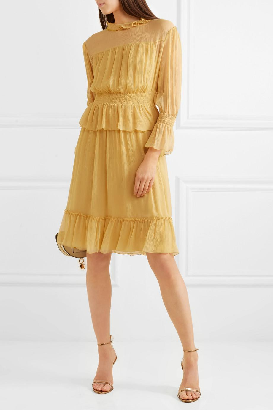 Ruffled Crinkled-silk Dress - Yellow See By Chlo YLYxef