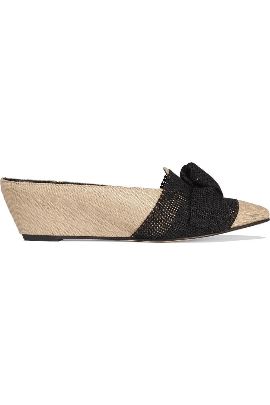 Trademark Adrien Bow-embellished Canvas And Leather Wedge Slippers Buy Cheap Official Site bTK6iGBAX3