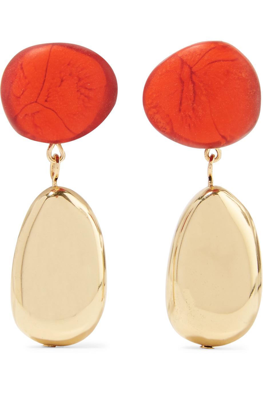 Dinosaur Designs Gold-tone Resin Earrings - Orange AqZVlsCm