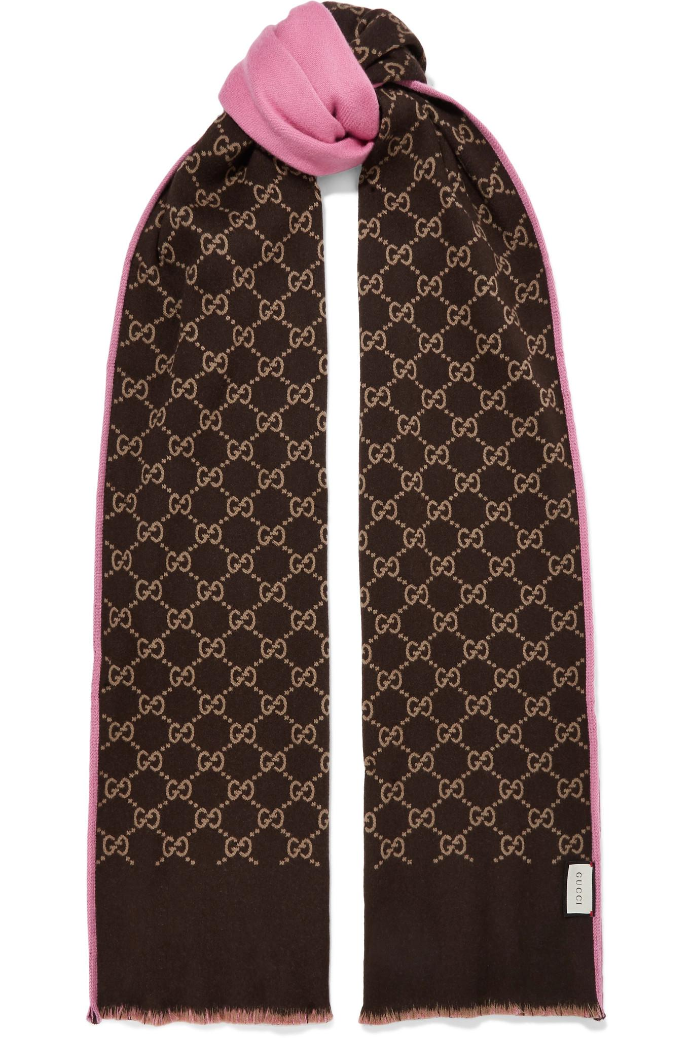 131a74050bc Lyst - Gucci Reversible Intarsia Wool And Silk-blend Scarf in Brown