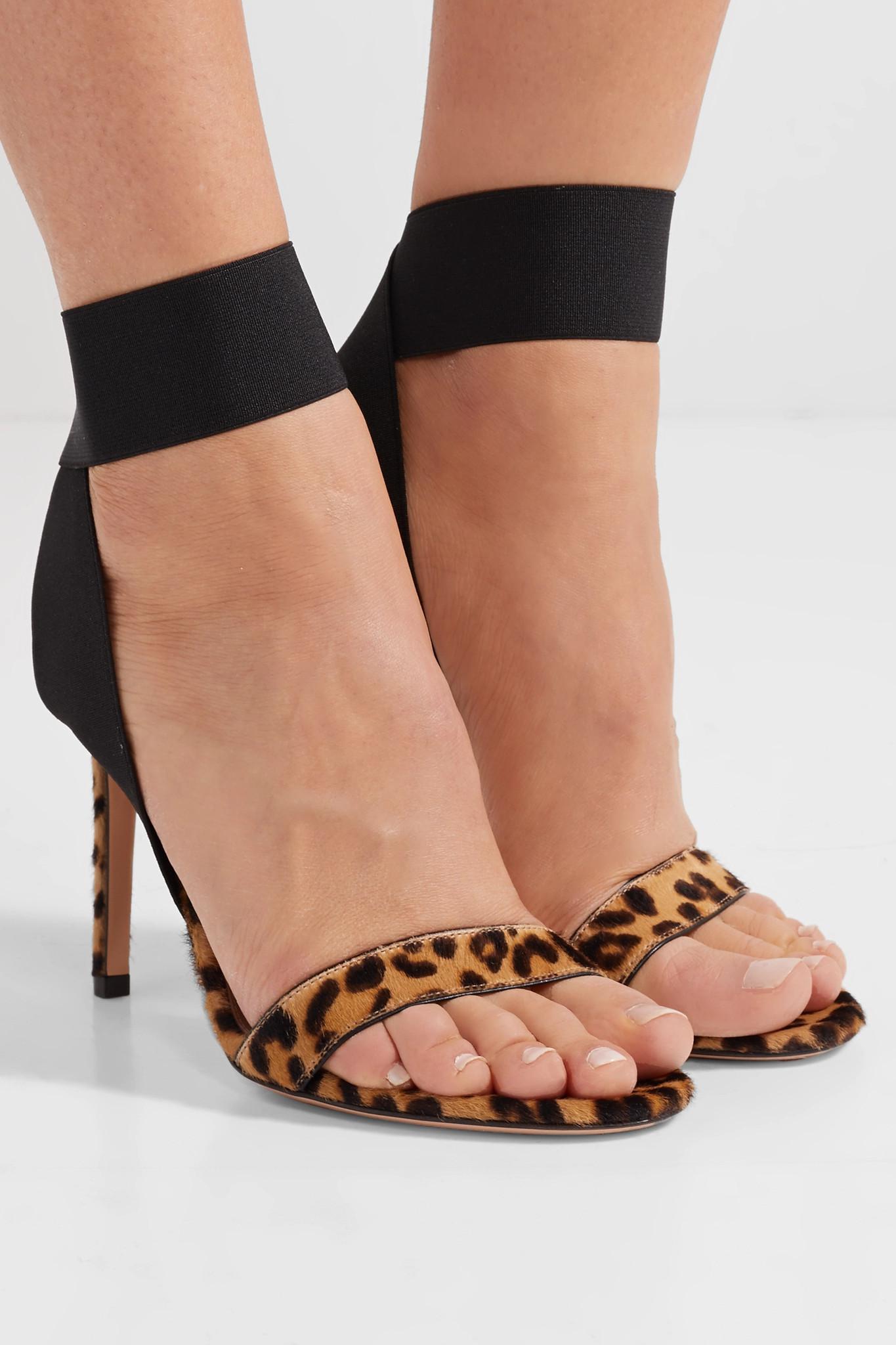 e39677c4147f Gianvito Rossi - Multicolor 105 Leopard-print Calf Hair Sandals - Lyst.  View fullscreen