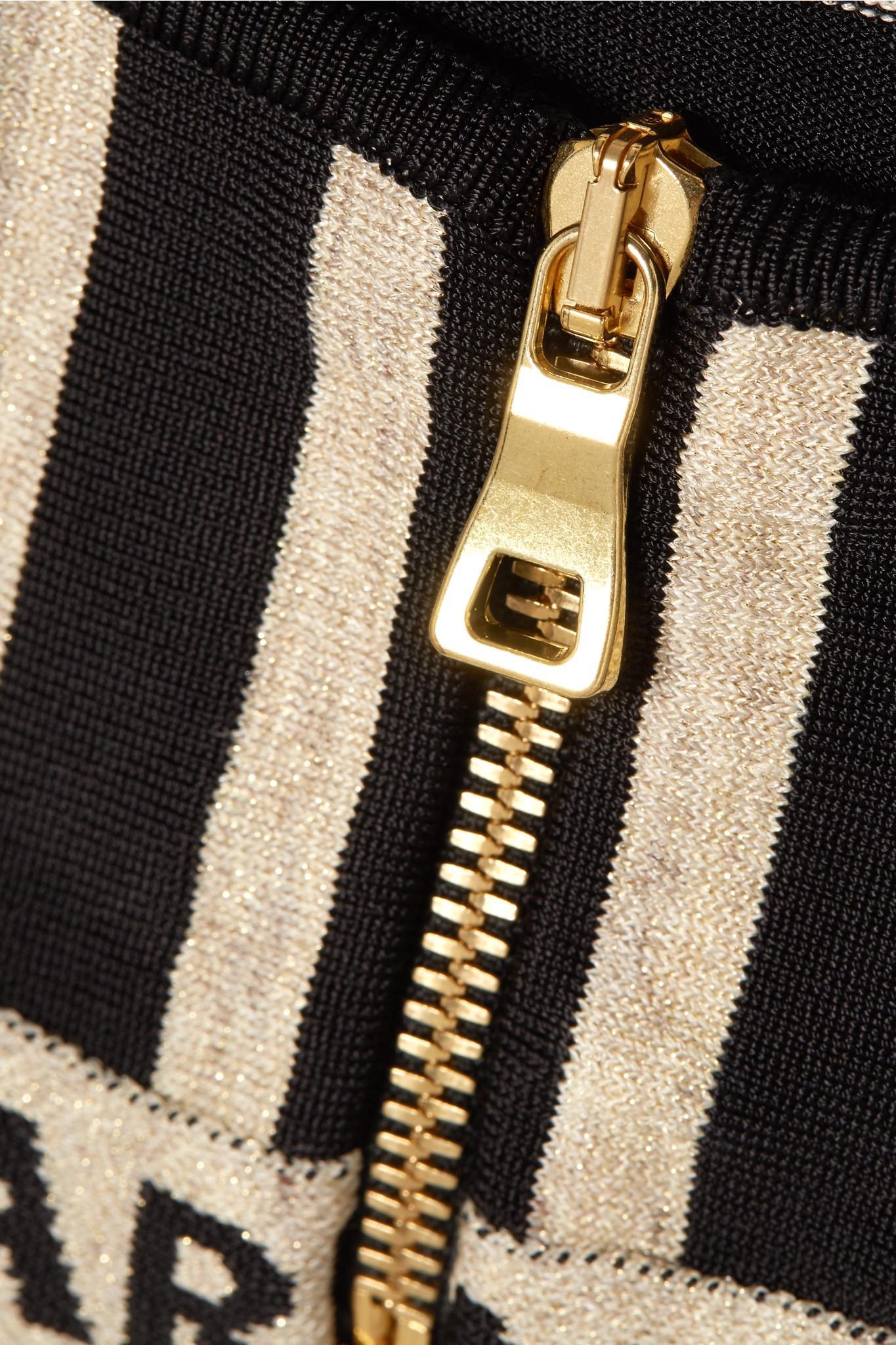 d97917d217 Balmain - Black Metallic Intarsia-trimmed Striped Stretch-knit Bralette -  Lyst. View fullscreen