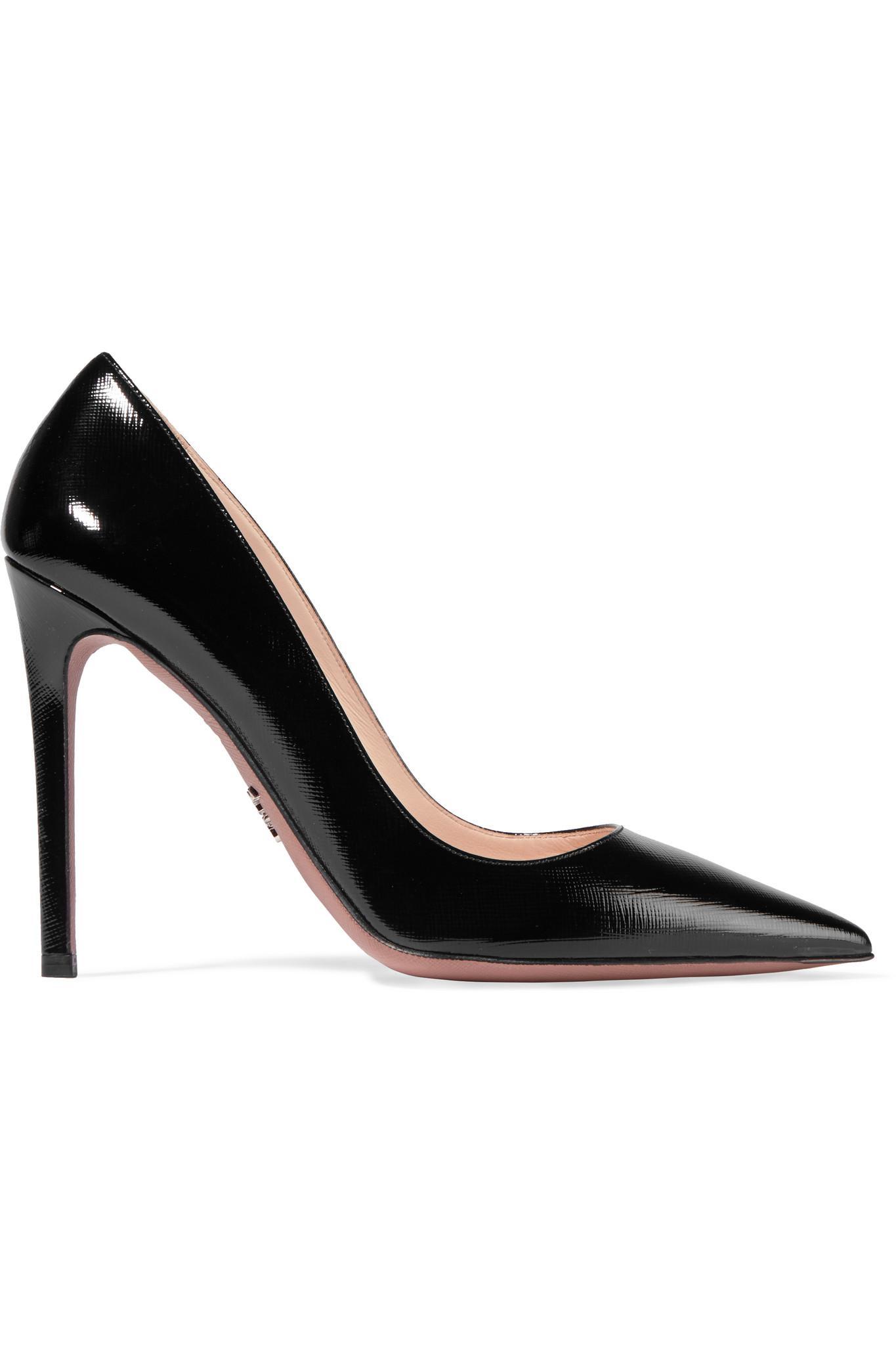 Glossed Textured-leather Pumps - Black Prada uQfOR