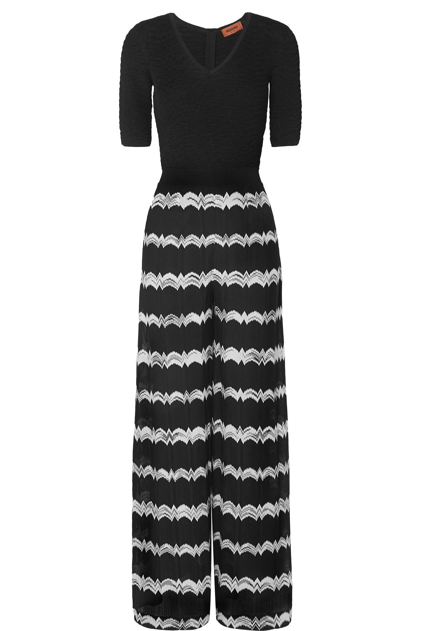 4fecb9dbe88 Lyst - Missoni Striped Crochet-knit Jumpsuit in Black